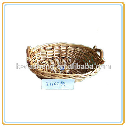 wicker basket tray with handle